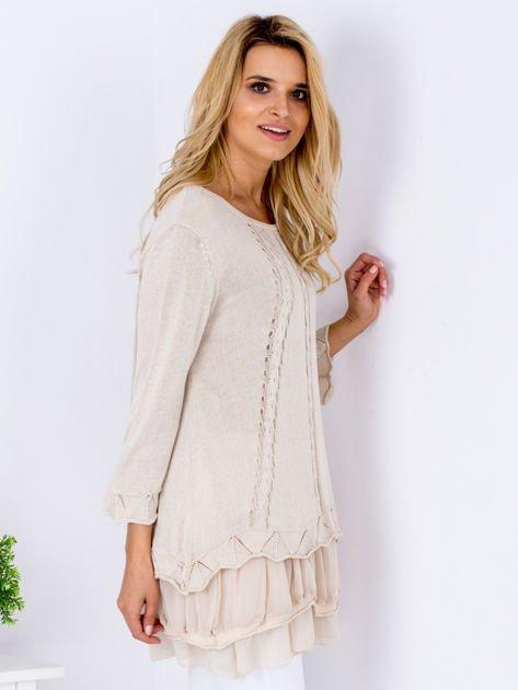 Beżowy warstwowy sweter                               zdj.                              5