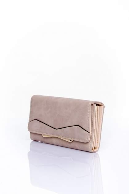 Beżowy zamszowy portfel z geometrycznym motywem                                  zdj.                                  3
