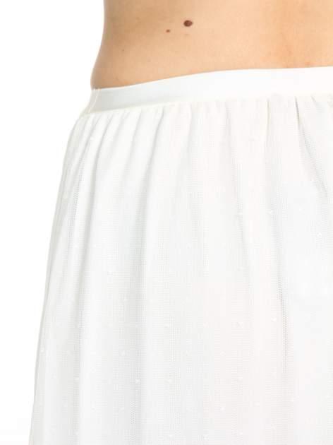 Biała ażurowa spódnica z żółtym pasem                                  zdj.                                  6