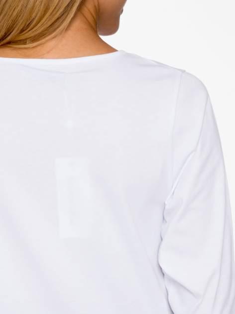 Biała basicowa bluzka z rękawem 3/4                                  zdj.                                  8