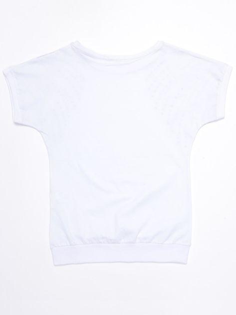 Biała bawełniana bluzka dziewczęca z palmami                              zdj.                              2