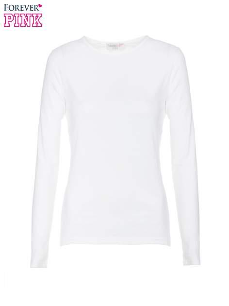 Biała bawełniana bluzka typu basic z długim rękawem                                  zdj.                                  5