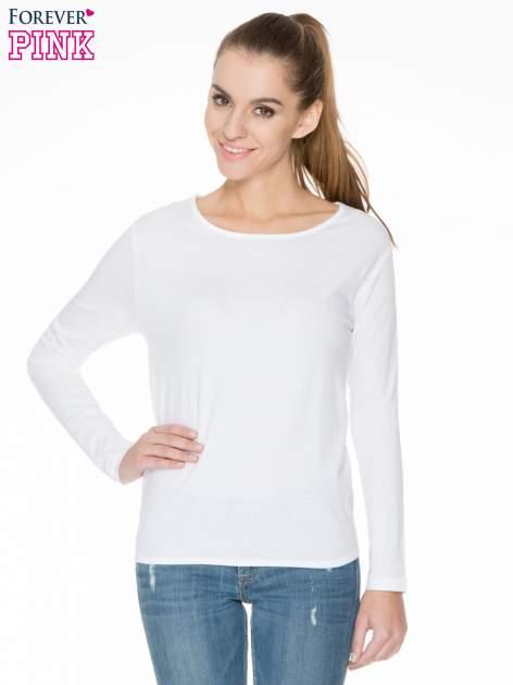 Biała bawełniana bluzka z gumką na dole