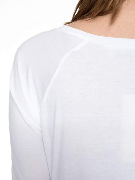 Biała bawełniana bluzka z rękawami typu reglan                                  zdj.                                  7