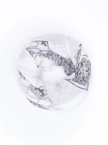 Biała bawełniana chustka w orientalny wzór                                  zdj.                                  2