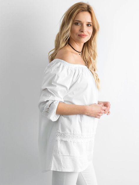 1c8e776c8eb207 Biała bawełniana tunika z hiszpańskim dekoltem - Bluzka Tunika ...