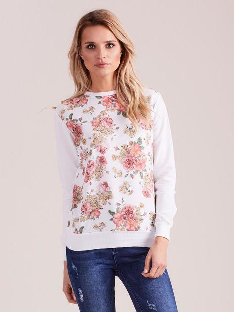 Biała bluza damska w kwiaty                              zdj.                              1
