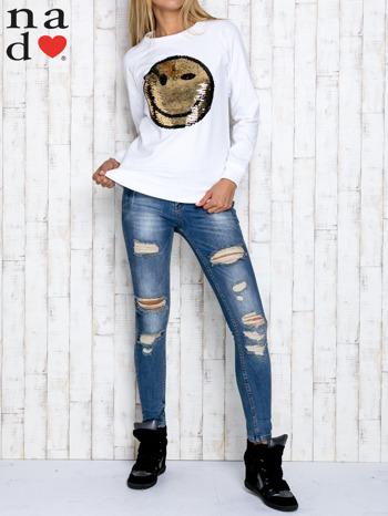 Biała bluza z dwustronną naszywką z cekinów                                  zdj.                                  2