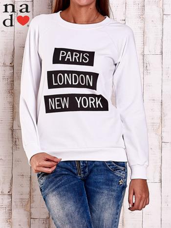 Biała bluza z napisem PARIS LONDON NEW YORK                                  zdj.                                  2