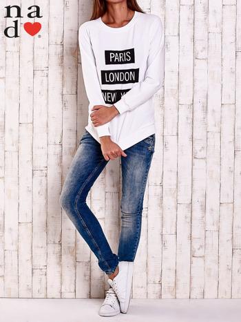 Biała bluza z napisem PARIS LONDON NEW YORK                                  zdj.                                  3