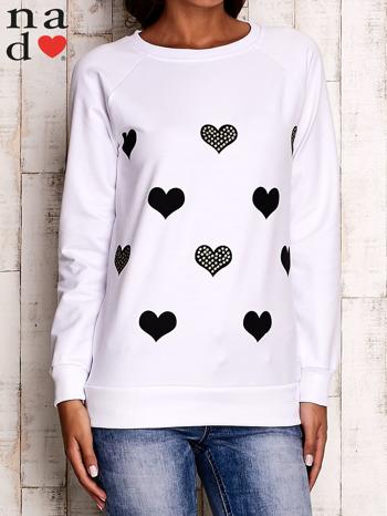 Biała bluza z serduszkami                                  zdj.                                  1