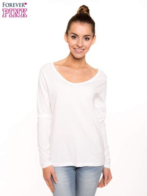 Biała bluzka basic z dekoltem w serek