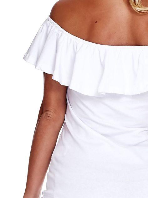 Biała bluzka hiszpanka z falbaną                              zdj.                              6