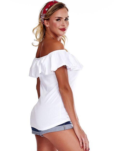 Biała bluzka hiszpanka z falbaną                              zdj.                              7