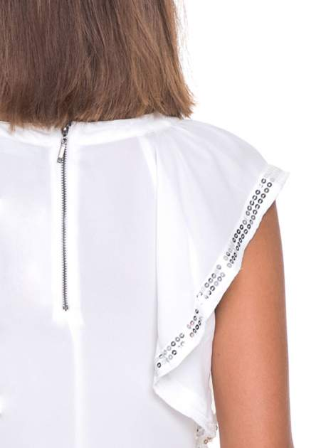 Biała bluzka koszulowa motylek z cekinami                                  zdj.                                  5