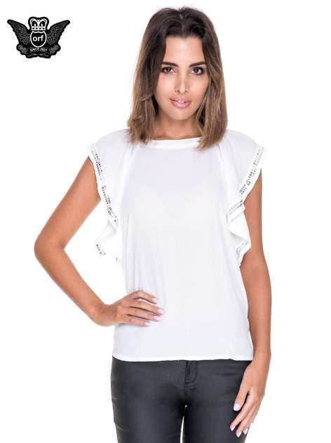 Biała bluzka koszulowa motylek z cekinami