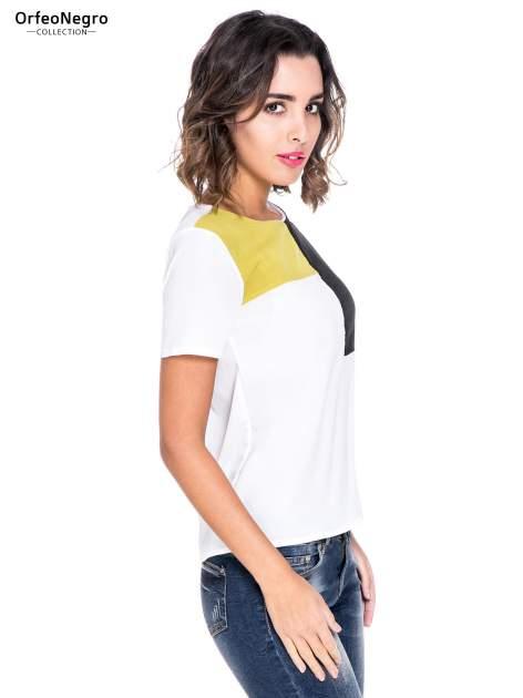 Biała bluzka koszulowa z geometrycznym wzorem                                  zdj.                                  3