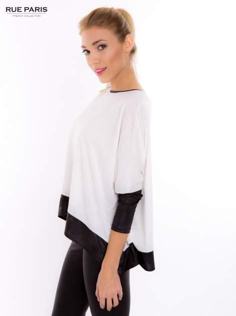 Biała bluzka z kontrastowymi wstawkami                                  zdj.                                  3
