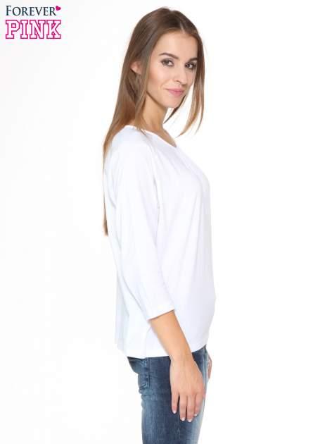 Biała bluzka z marszczonym dekoltem i rękawkami 3/4                                  zdj.                                  3