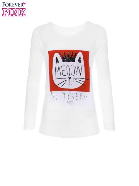 Biała bluzka z nadrukiem kota z koroną i napisem MEOW                                  zdj.                                  5