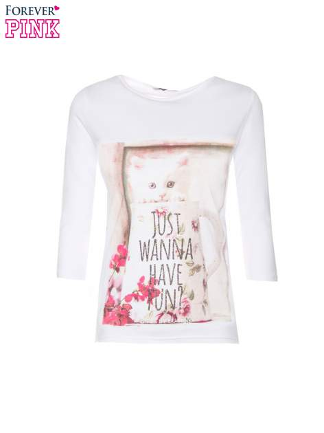 Biała bluzka z nadrukiem kotka i napisem JUST WANNA HAVE FUN?                                  zdj.                                  5