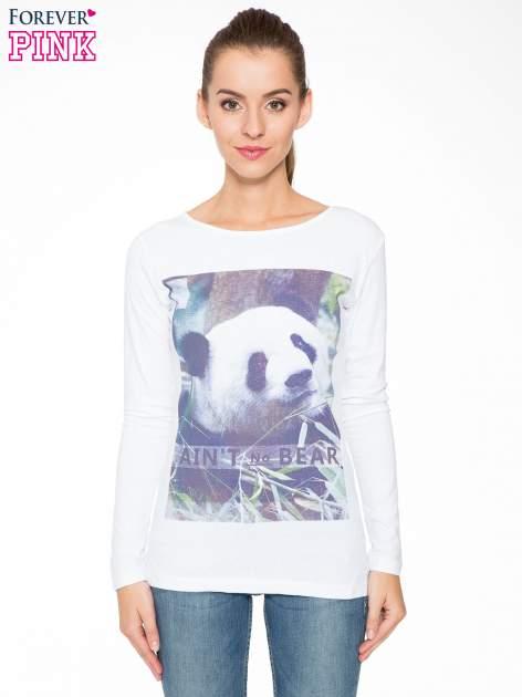 Biała bluzka z nadrukiem pandy                                  zdj.                                  1