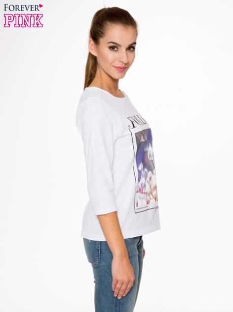 Biała bluzka z napisem FOLLOW YOUR DREAMS                                  zdj.                                  3