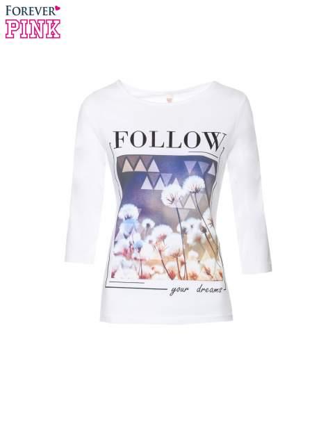 Biała bluzka z napisem FOLLOW YOUR DREAMS                                  zdj.                                  2