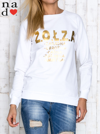 Biała bluzka z napisem ZOŁZA                                  zdj.                                  1