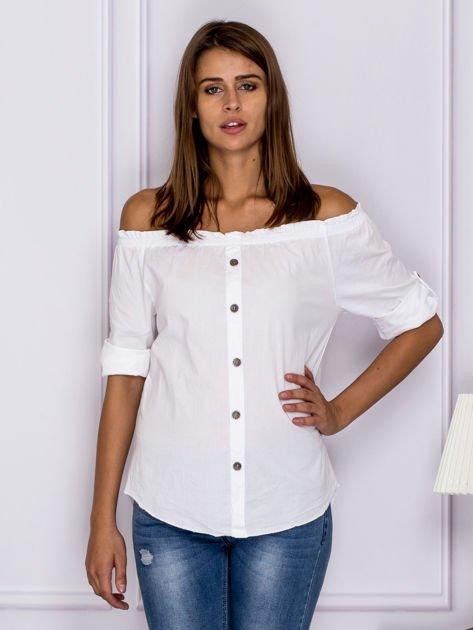 Biała bluzka z ozdobnymi guzikami                                  zdj.                                  1