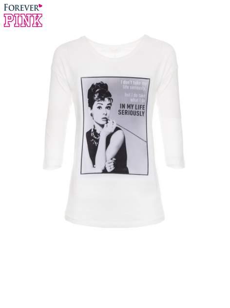 Biała bluzka z portretem Audrey Hepburn                                  zdj.                                  2