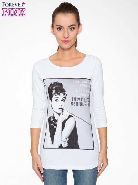 Biała bluzka z portretem Audrey Hepburn                                  zdj.                                  1