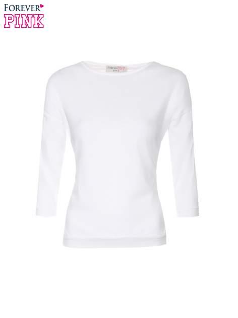 Biała bluzka z rękawem 3/4 i lekkim ściągaczem na dole                                  zdj.                                  5