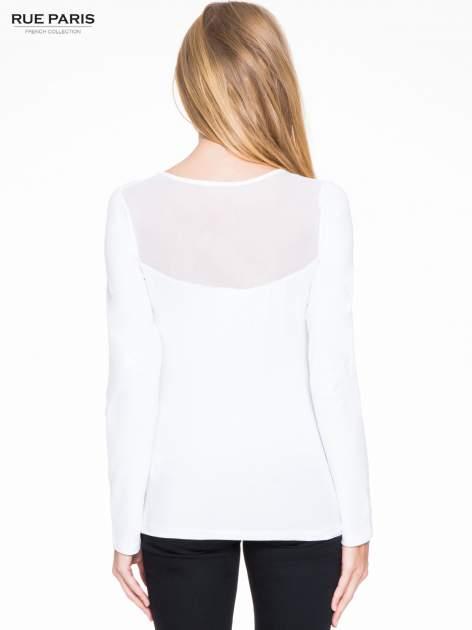 Biała bluzka z tiulowym karczkiem                                  zdj.                                  4
