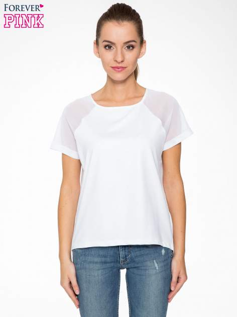 Biała bluzka z transparentnymi rękawkami