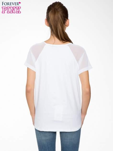 Biała bluzka z transparentnymi rękawkami                                  zdj.                                  4