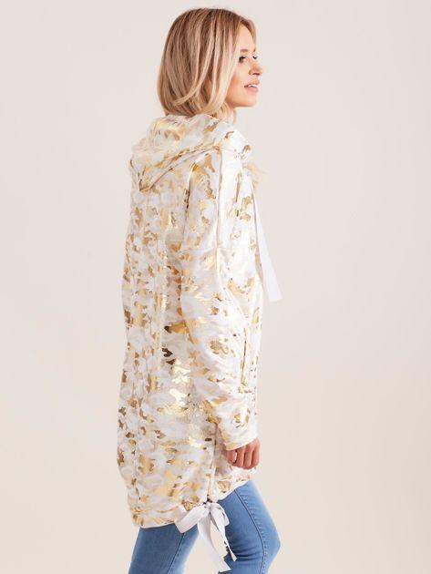 Biała błyszcząca dresowa bluza z kapturem                              zdj.                              3