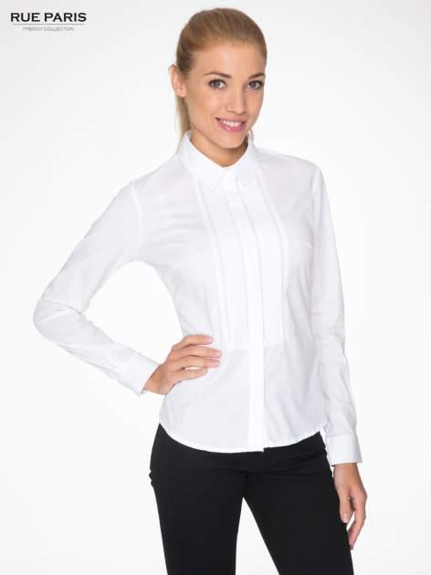 Biała elegancka koszula damska z marszczonym przodem                                  zdj.                                  1