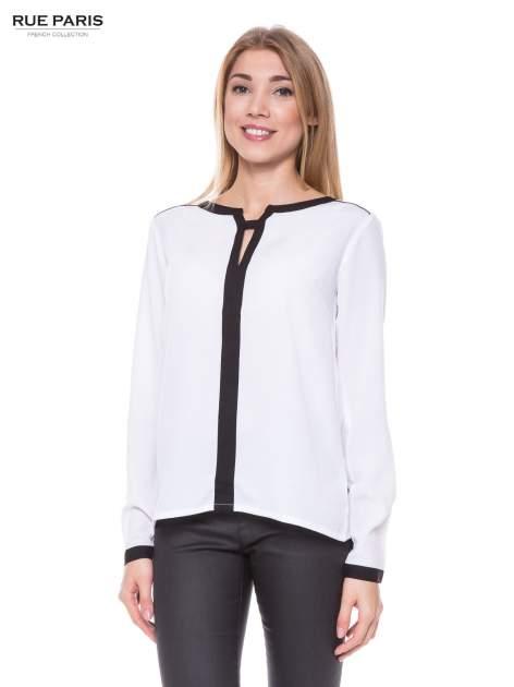Biała elegancka koszula z kontrastową listwą i dekoltem                                  zdj.                                  1