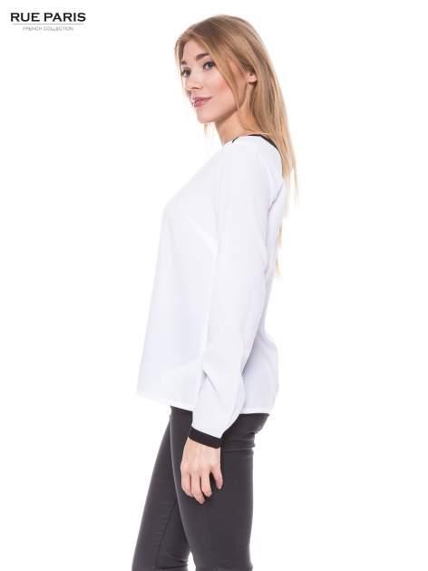 Biała elegancka koszula z kontrastową listwą i dekoltem                                  zdj.                                  2
