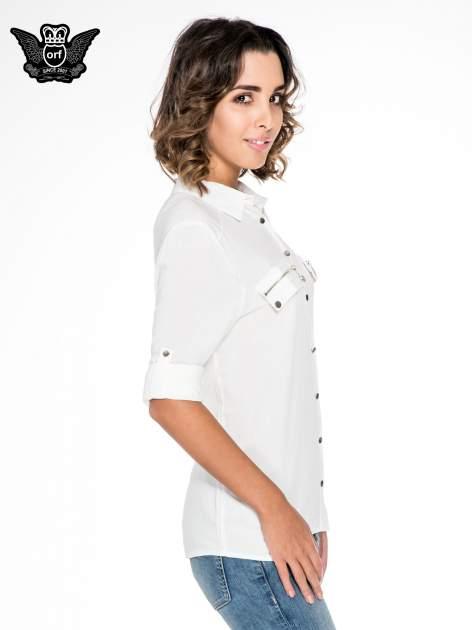 Biała elegancka koszula z suwakami i napami                                  zdj.                                  5
