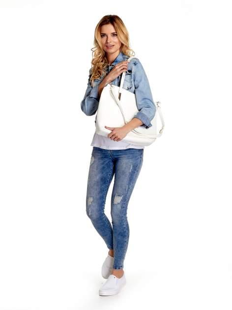 Biała fakturowana torba shopper bag                                  zdj.                                  6
