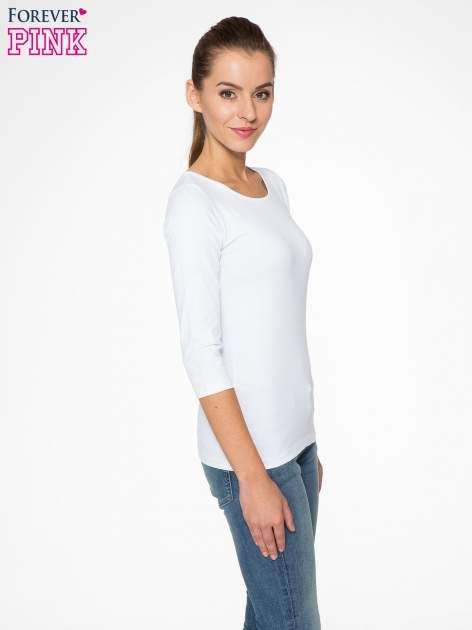 Biała gładka bluza z bawełny z rękawami 3/4                                  zdj.                                  3