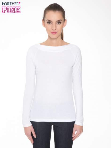 Biała gładka bluzka z reglanowymi rękawami