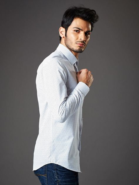 Biała koszula męska o klasycznym kroju we wzory                              zdj.                              6