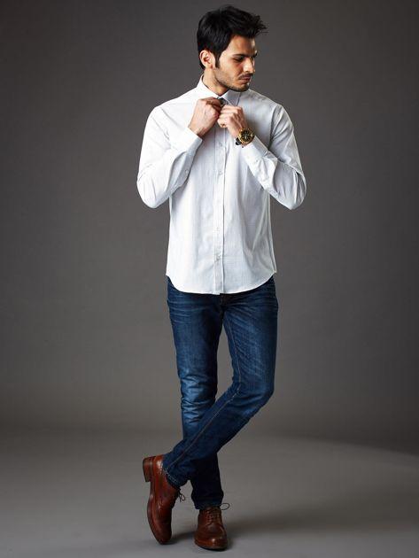 Biała koszula męska regular fit w drobne geometryczne wzory                              zdj.                              4