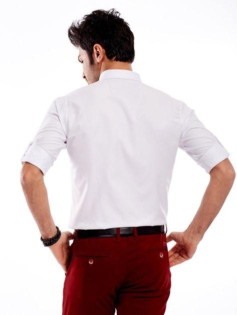 Biała koszula męska regular fit z podwijanymi rękawami                               zdj.                              2