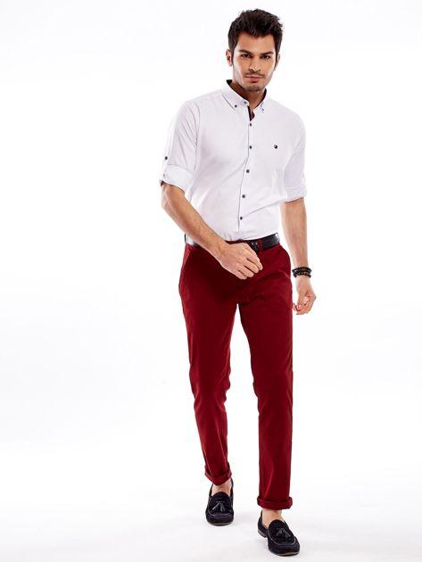 Biała koszula męska regular fit z podwijanymi rękawami                               zdj.                              4