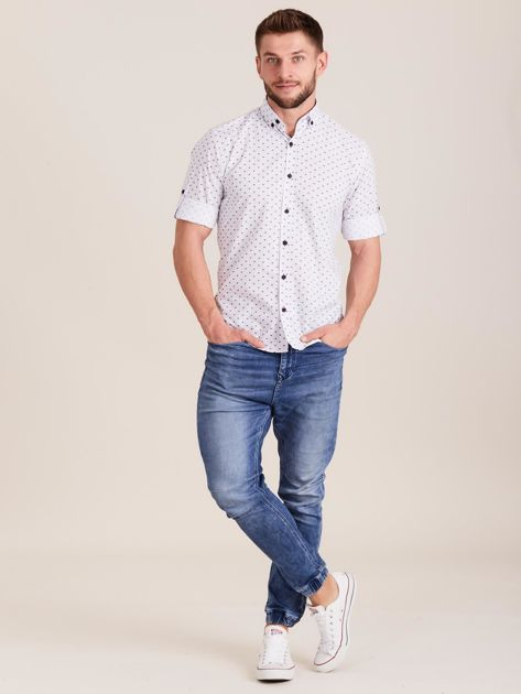 Biała koszula męska w drobne wzory                              zdj.                              4