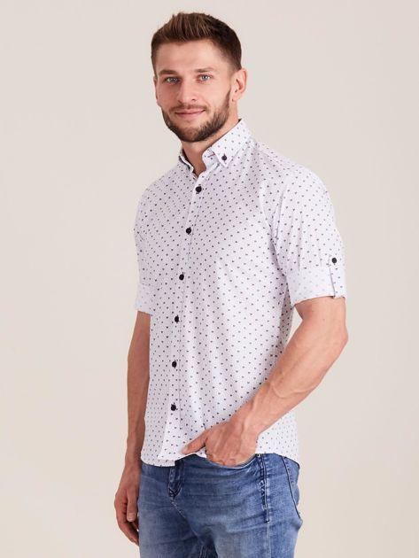 Biała koszula męska w drobne wzory                              zdj.                              3